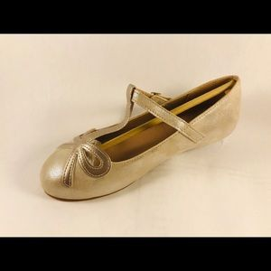 Hanna Andersson Girls Gold Elin Flats Size 2